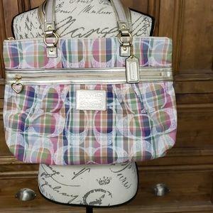 Coach Poppy Daisy Plaid  Bag/Tote  EUC